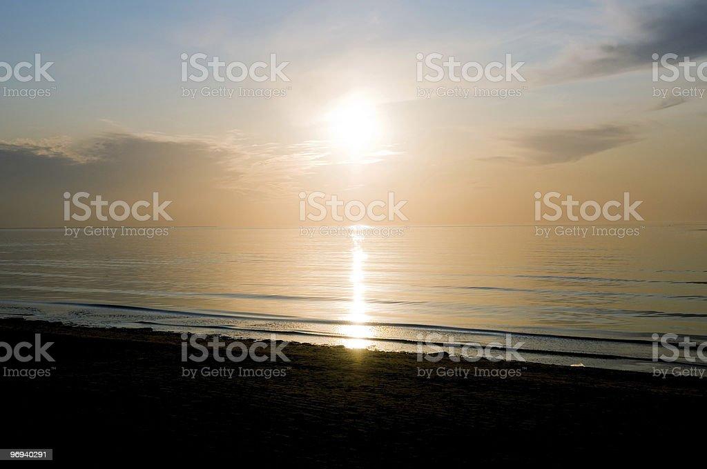 Evening sunset on seacoast royalty-free stock photo