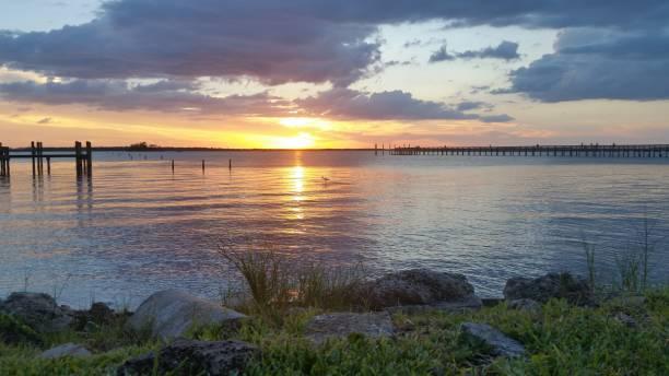 Evening sunset reflection on Central gulf coast of Florida. stock photo