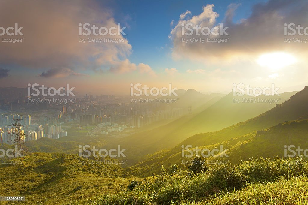 Evening sunset scene along mountains royalty-free stock photo