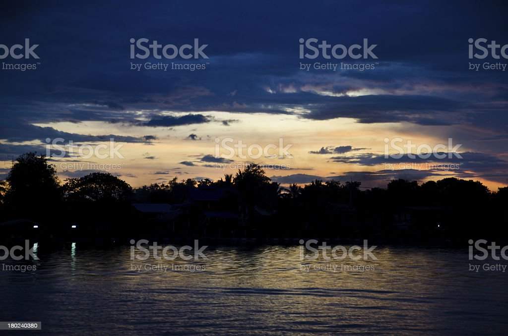 Evening sunset sky. Chao Phraya River in Thailand. stock photo