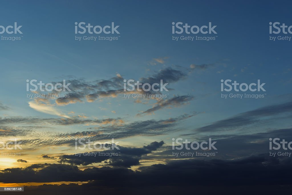 Evening sunset with cloudy skies royalty-free stock photo