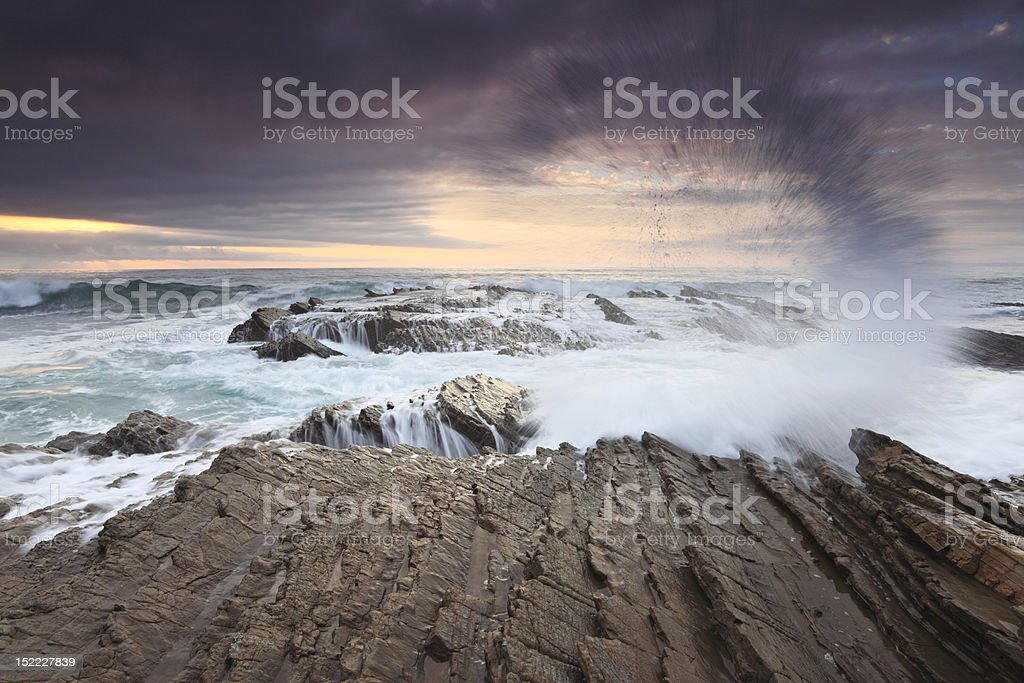 Evening surf on California coast royalty-free stock photo