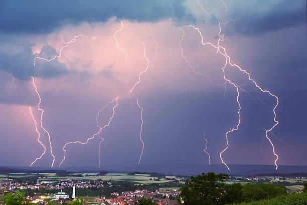 evening thunderstorm stock photo