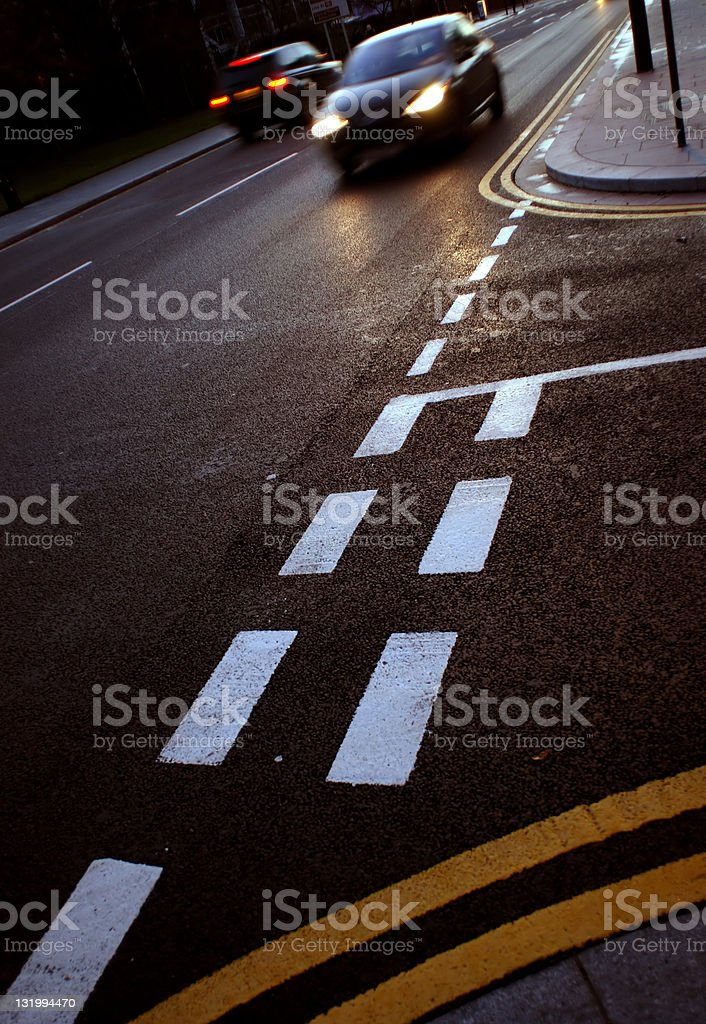 Evening traffic asphalt stock photo