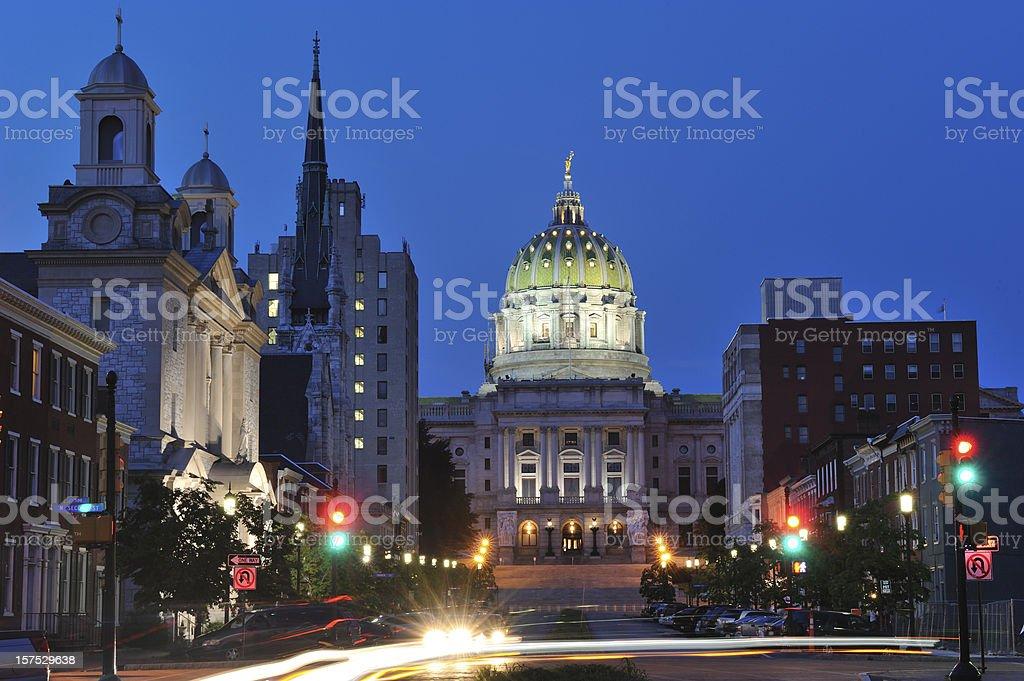 Evening Traffic in Harrisburg of Pennsylvania stock photo