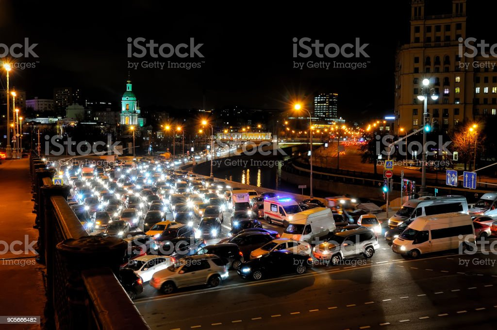 Evening traffic jam in Moscow stock photo