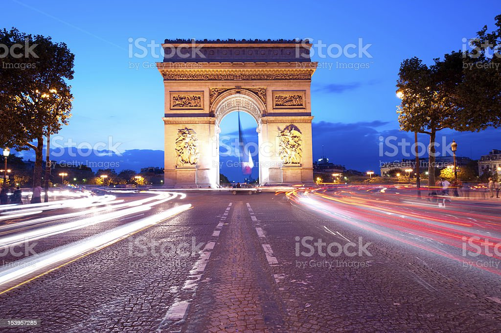 Evening traffic on Champs-Elysees stock photo