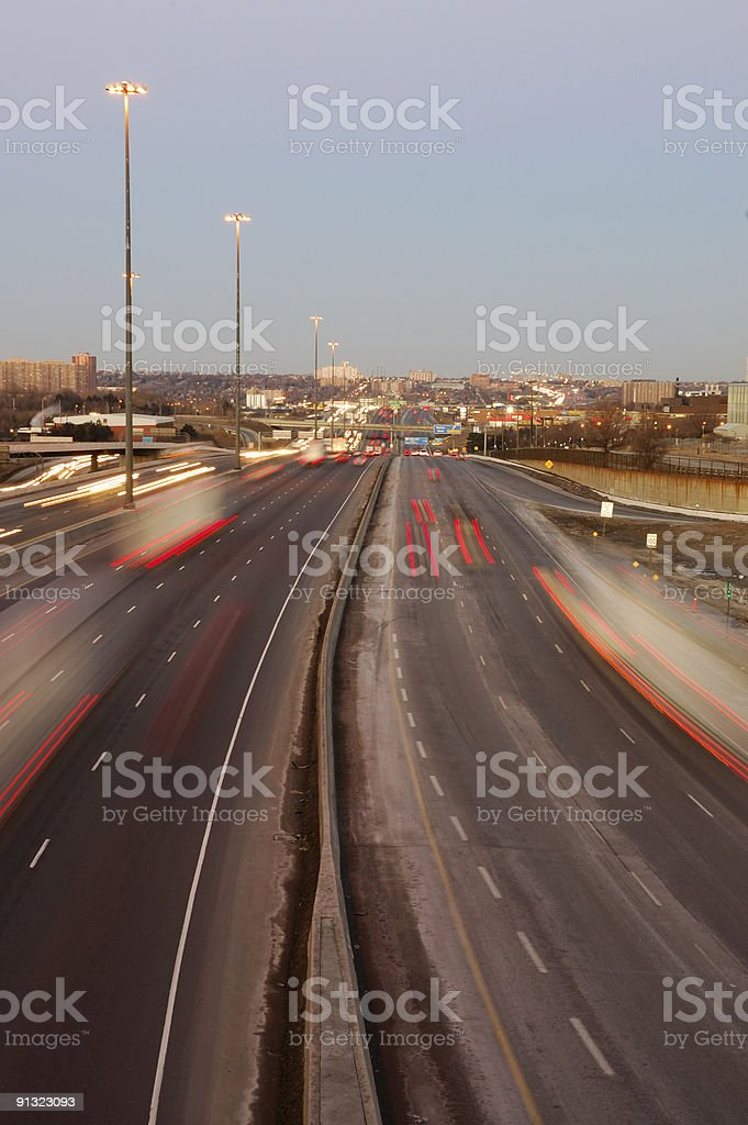 Evening Traffic On Highway 401 In Toronto Stock Photo - Download