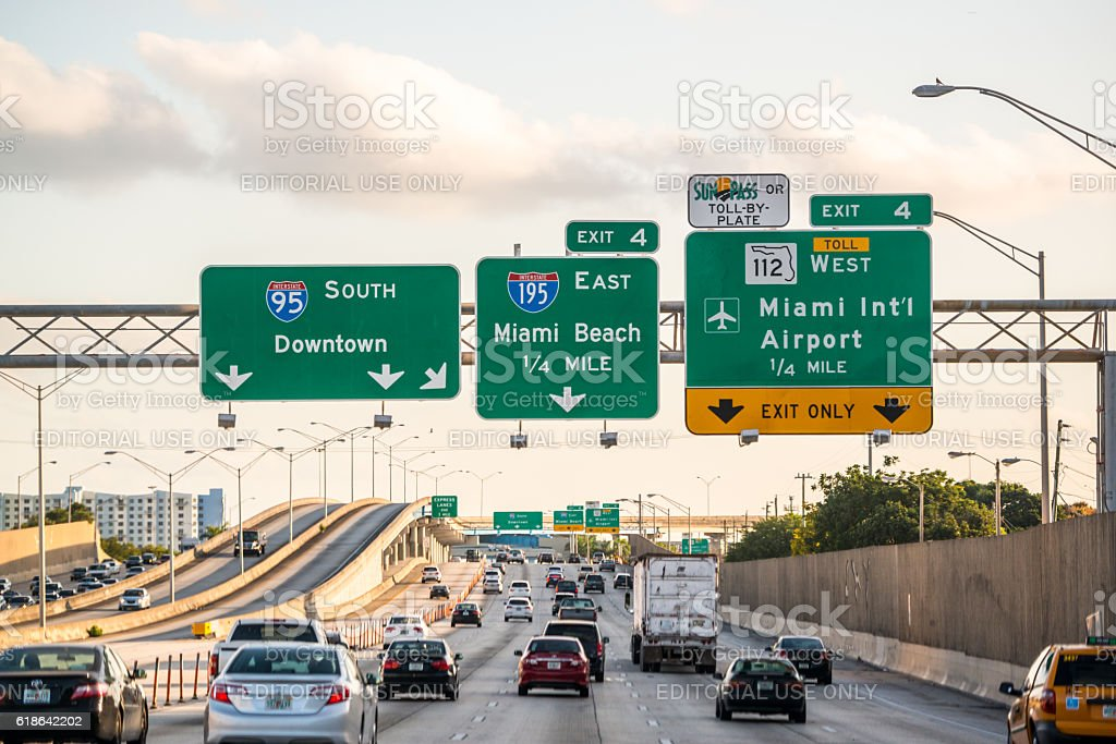 Evening traffic on highway, Miami, USA – Foto