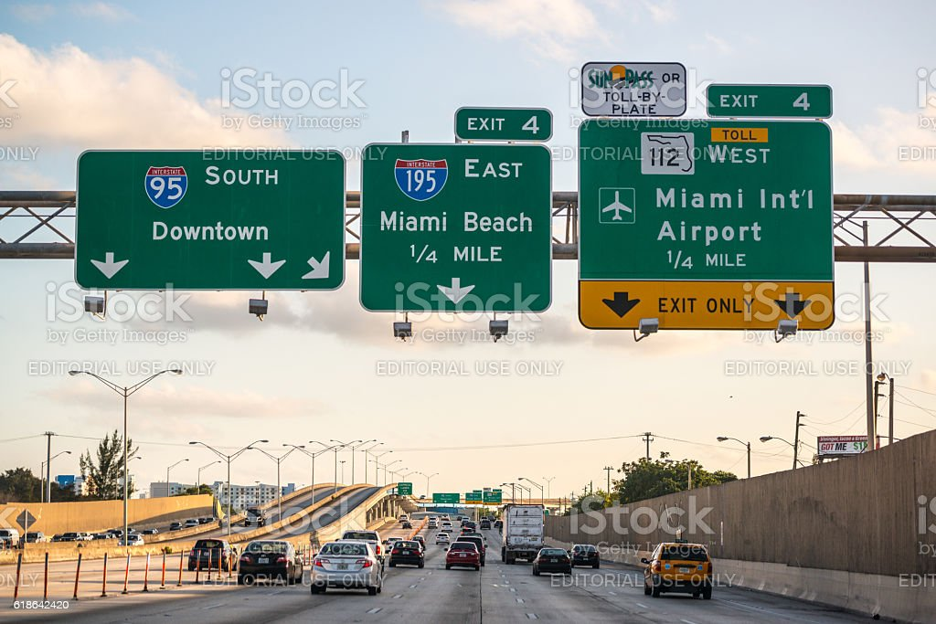 Evening traffic on highway, Miami, USA stock photo
