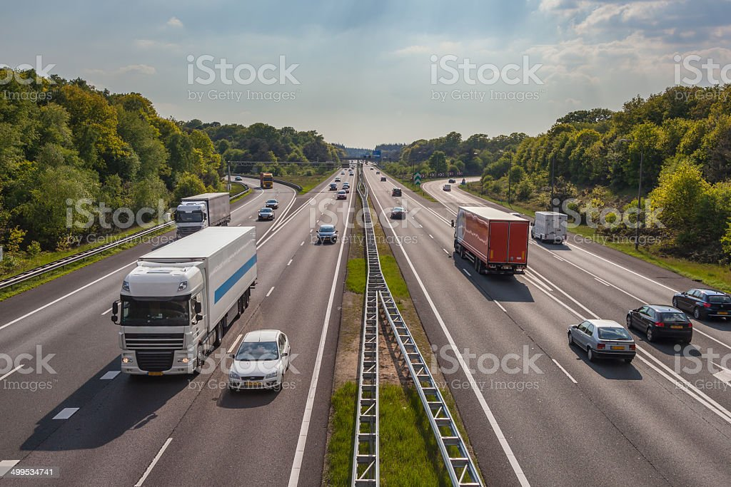 Evening Traffic on the A12 Motorway stock photo