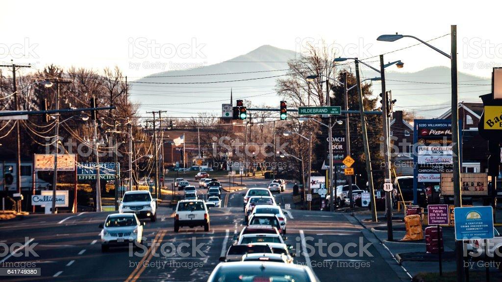 Evening traffic. Roanoke, Virginia. stock photo