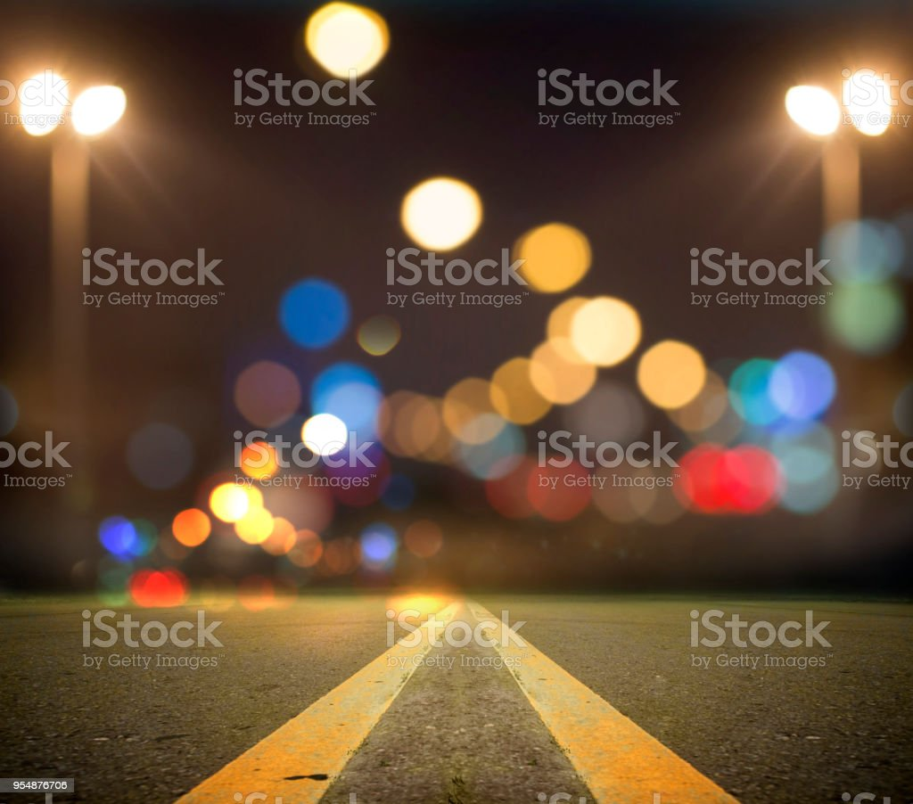 Evening traffic. The city lights. Motion blur. stock photo