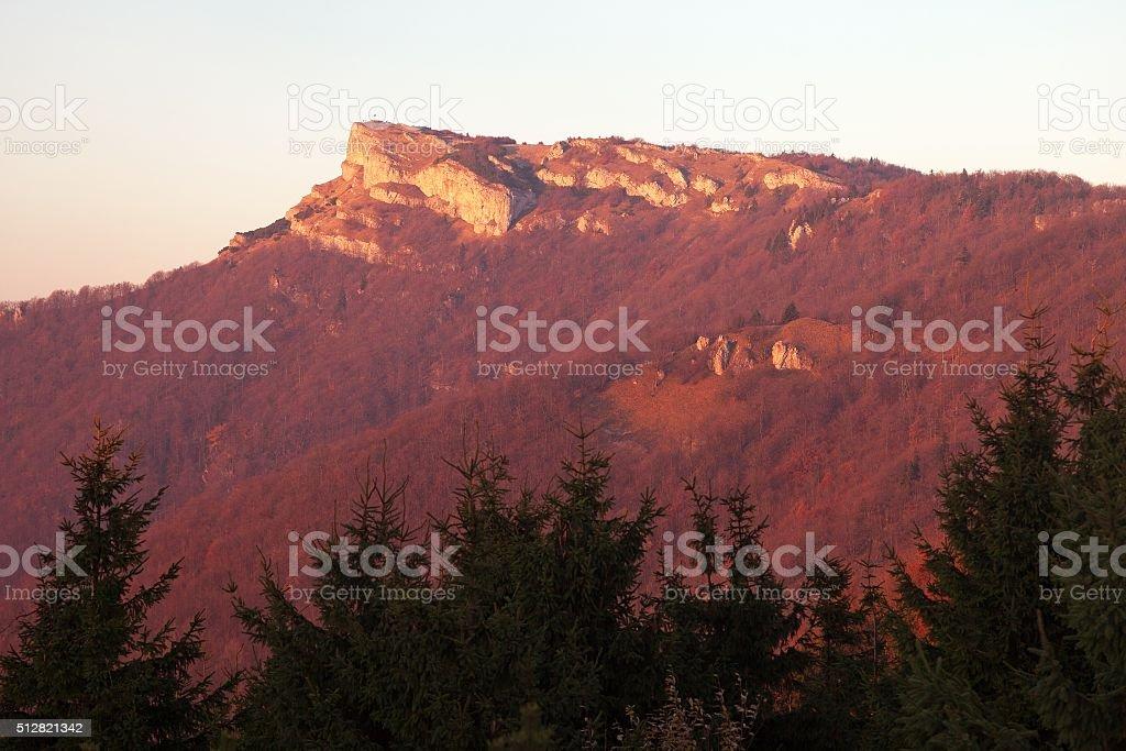Evening utumnal view of mount Klak stock photo