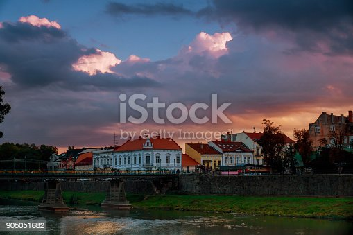 istock Evening Uzhhorod pedestrian bridge across the river, Ukraine 905051682