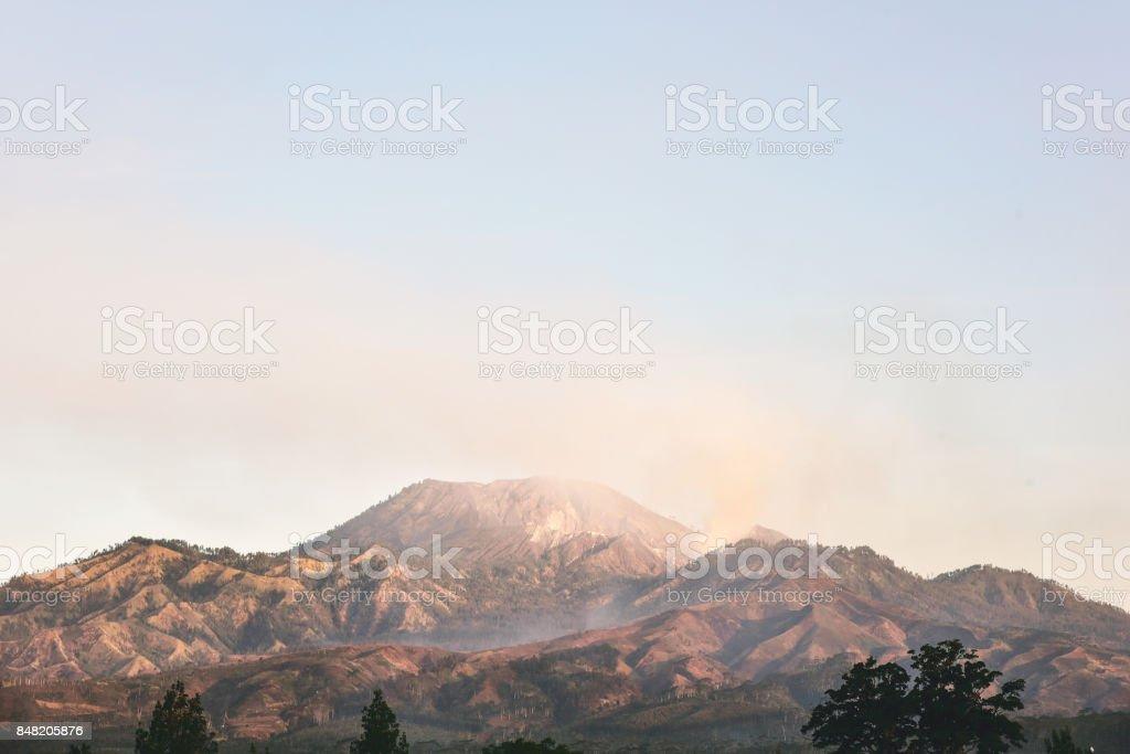 Evening view at Kawah Ijen stock photo