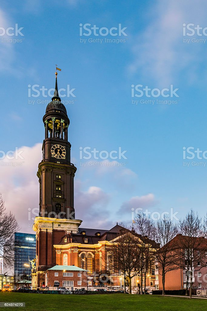 evening view at Michelwiese with St. Michaelis in evening light stock photo