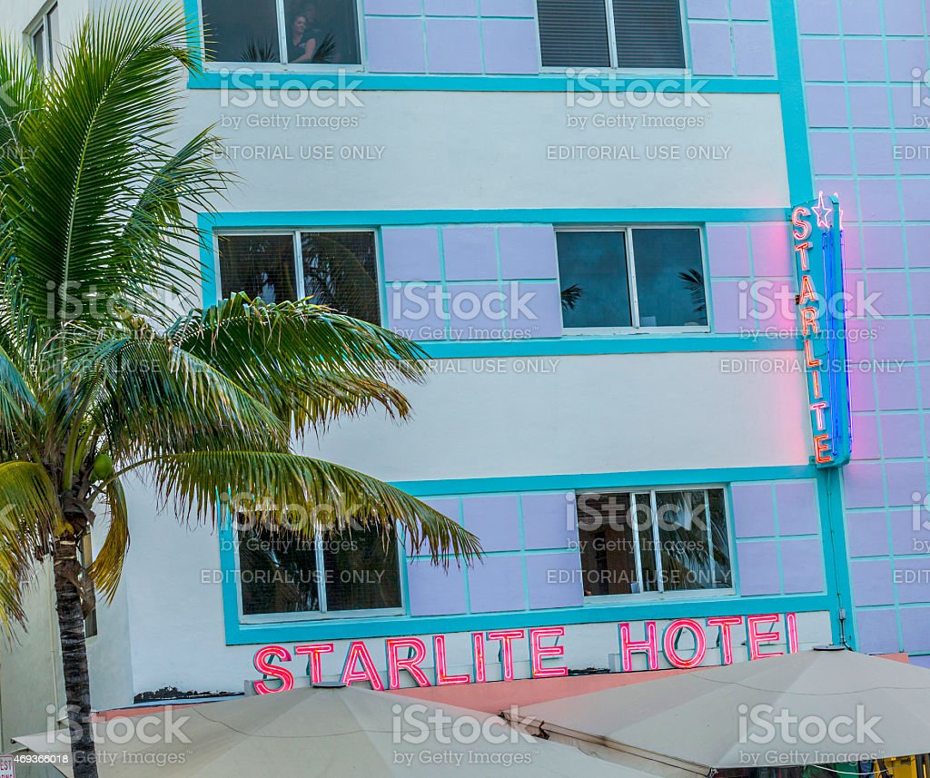 evening view at Ocean drive stock photo