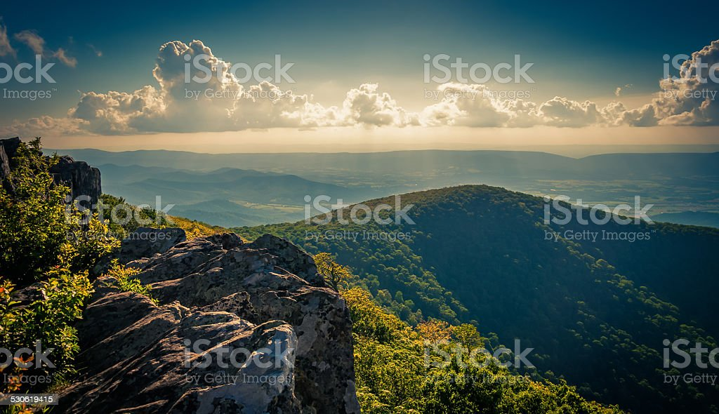 Evening view from cliffs on Hawksbill Summit, in Shenandoah Nati stock photo