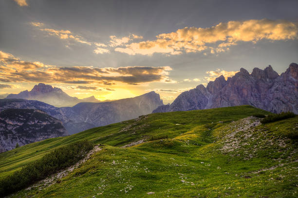 Evening view from the Auronzo mountain hut, Dolomites, Italy stock photo