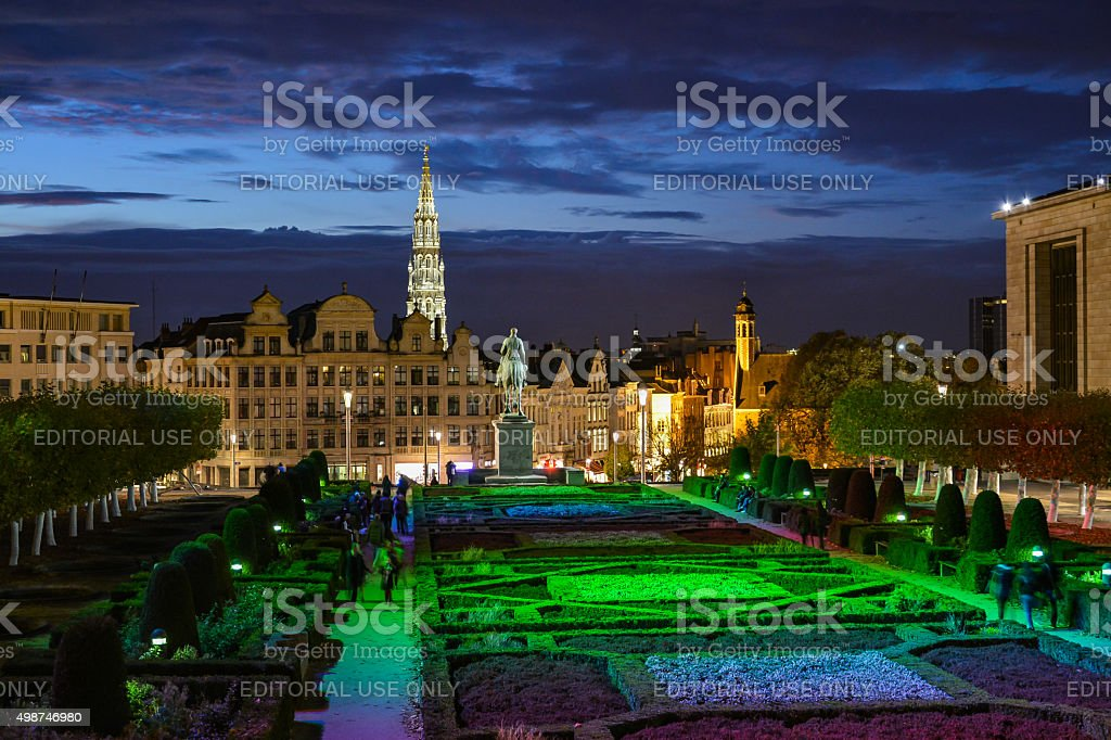 Evening view from the Mount of the Arts, Brussels stock photo