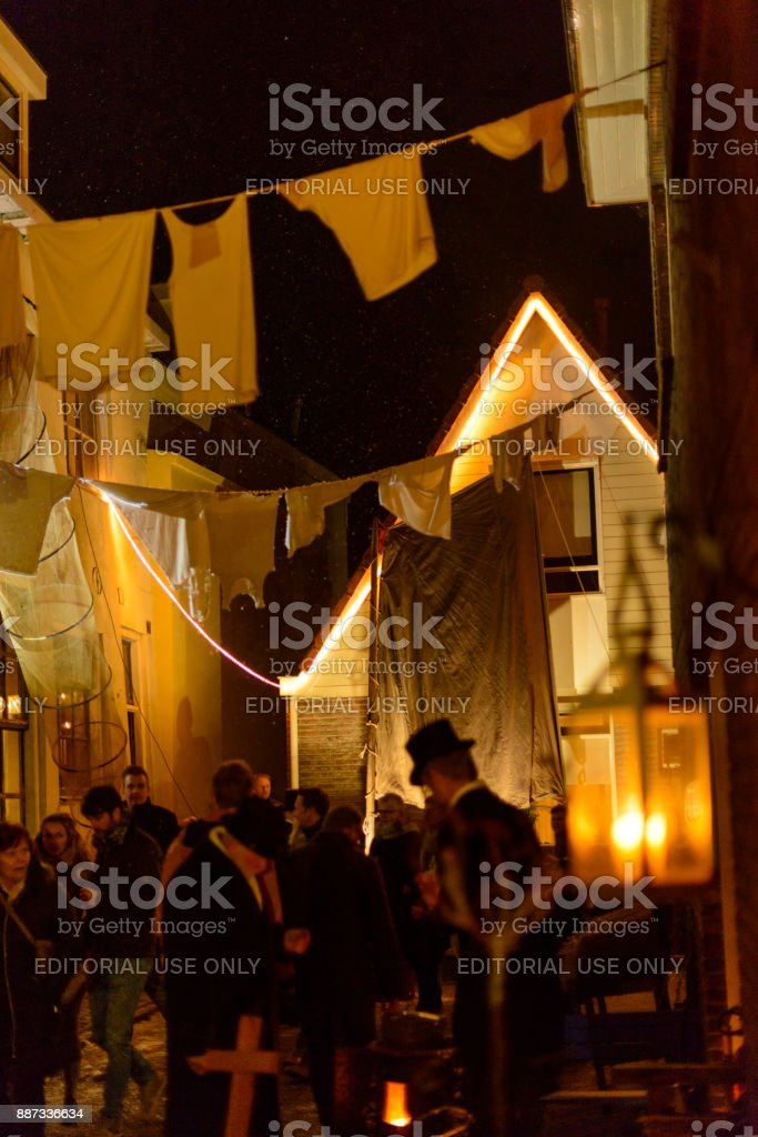 Evening view in a decorated street in  Kampen during Christmas celebrations stock photo