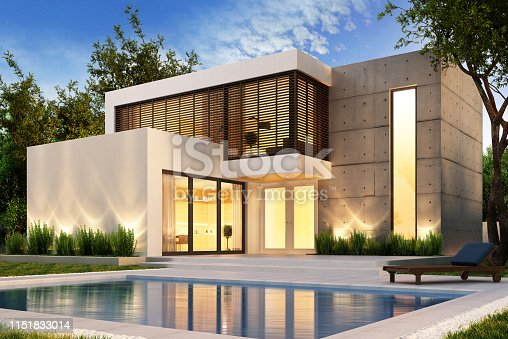 istock Evening view of a modern house with swimming pool 1151833014