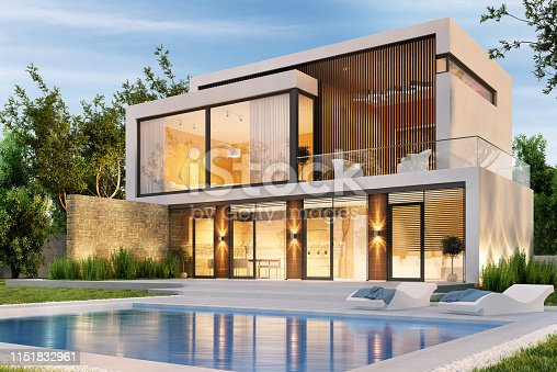 istock Evening view of a modern large house with swimming pool 1151832961