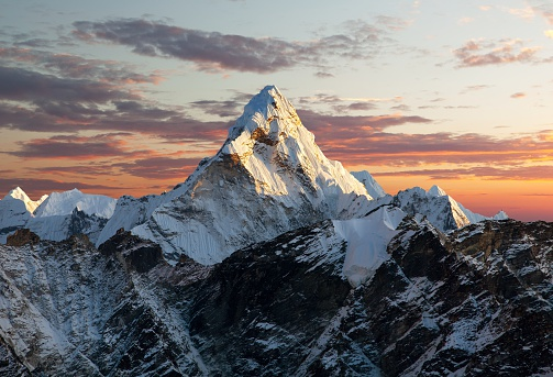 Evening view of Ama Dablam on the way to Everest Base Camp - Nepal
