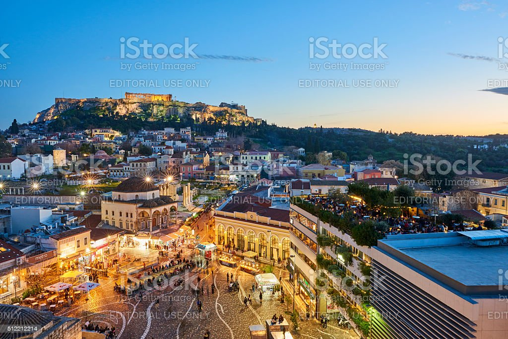 Evening View of Athens stock photo