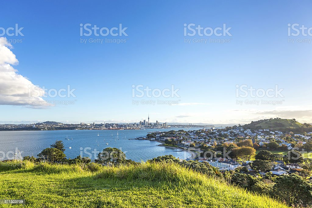 Evening view of Auckland city and Devonport stock photo