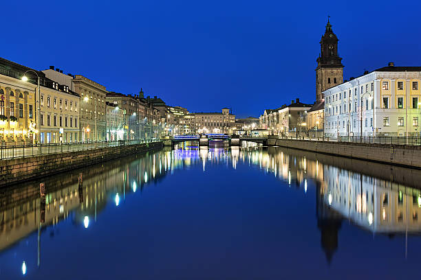Evening view of Big Harbor Canal and German Church, Gothenburg stock photo