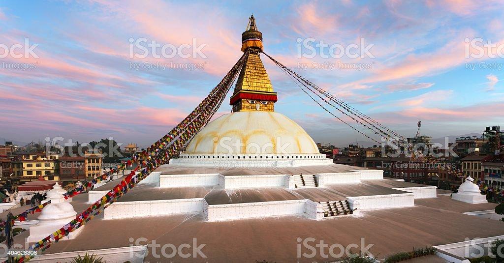 Evening view of Bodhnath stupa - Kathmandu - Nepal stock photo