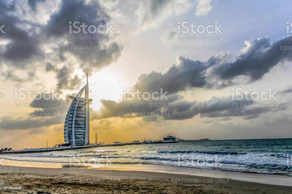Evening view of Burj Al Arab, Seven Star Hotel, A view from Jumeirah Beach, Arabian Sea, Residential and Business Skyscrapers, Dubai, United Arab Emirates stock photo