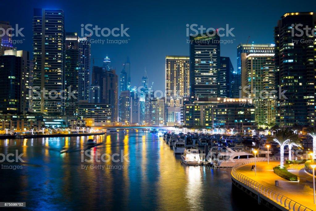 Evening view of Dubai Marina stock photo