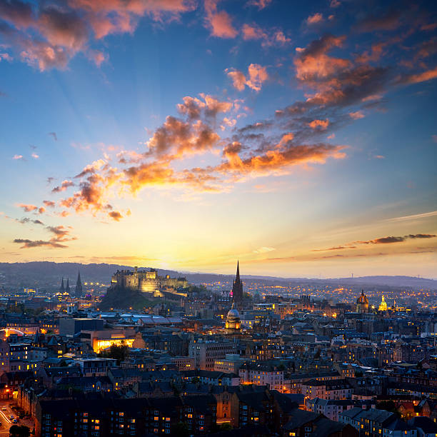 Evening view of Edinburgh stock photo