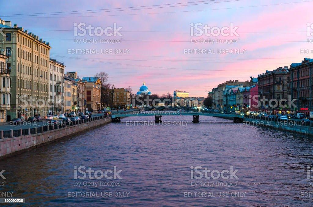 Evening view of embankment of Fontanka River, Saint Petersburg, Russia stock photo