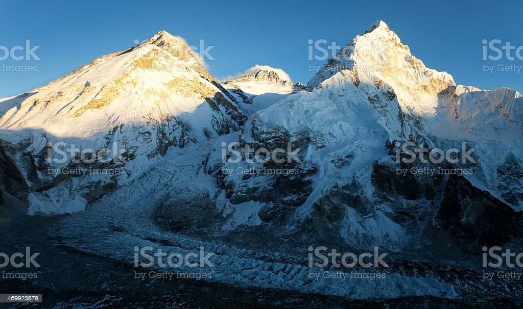 Evening view of Everest from Pumo Ri base camp stock photo