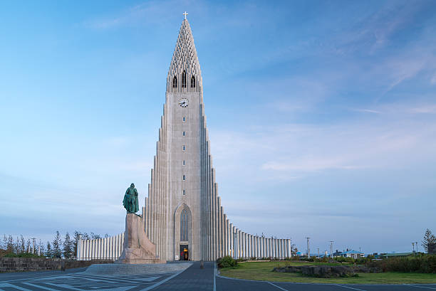 Evening view of famous Hallgrimskirkja church, Reykjavik, Iceland. Evening view of famous Hallgrimskirkja church, Reykjavik, Iceland. Hallgrímskirkja church stock pictures, royalty-free photos & images