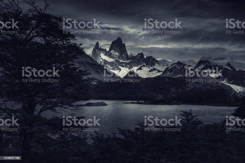 Evening View of Fitz Roy Mountain stock photo