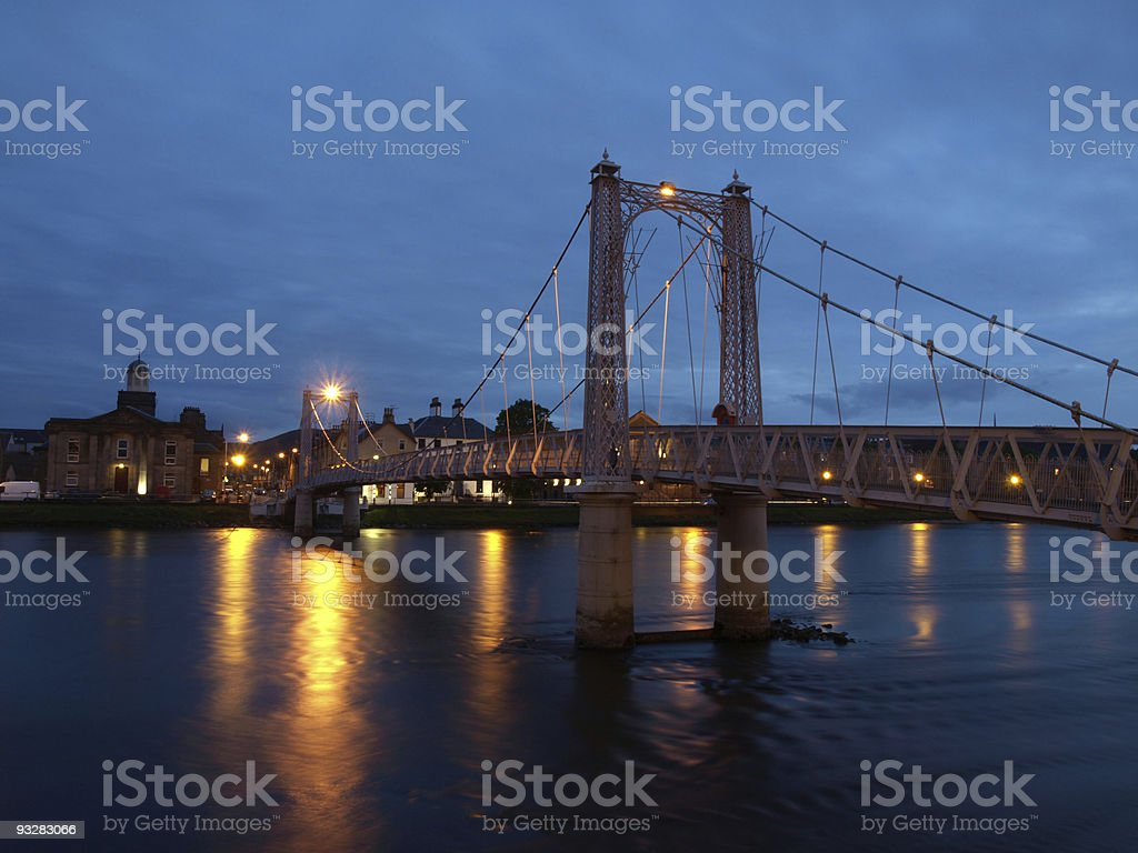 Evening view of Grieg Street Bridge in Inverness, Scotland stock photo