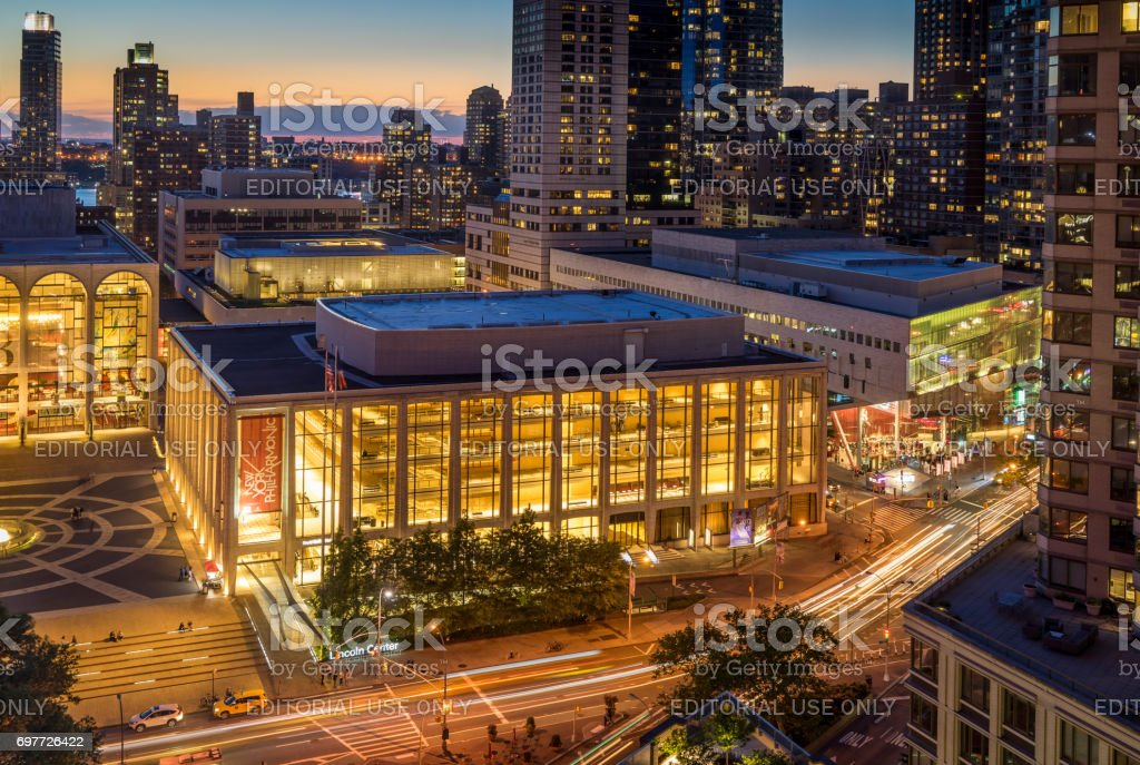 Evening view of Lincoln Center and Broadway stock photo
