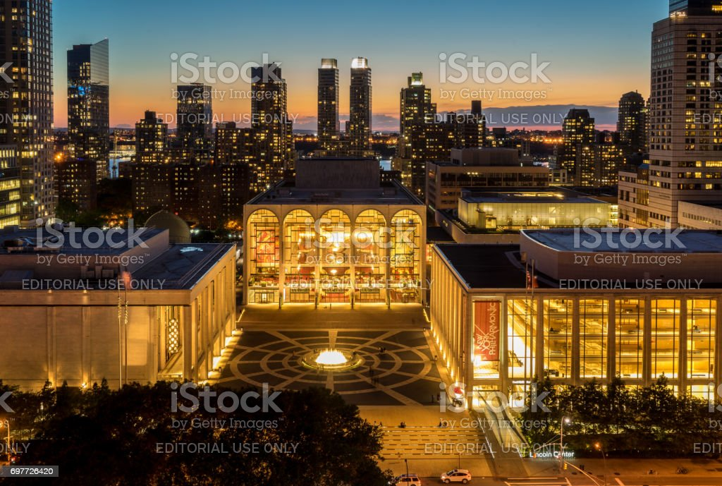 Evening view of Lincoln Center Opera House stock photo