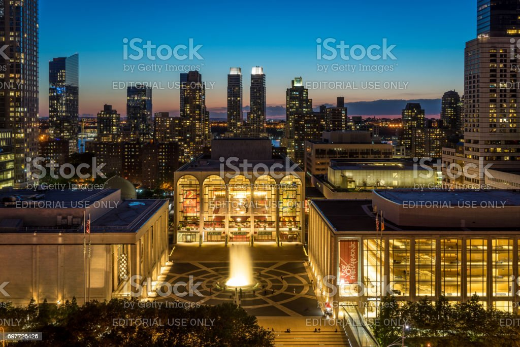 Evening view of Lincoln Center stock photo