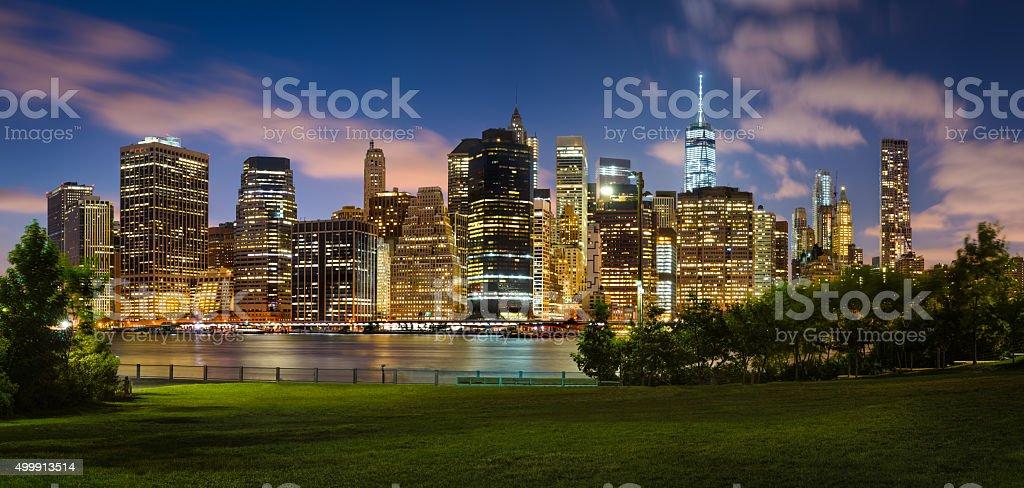 Evening view of Lower Manhattan across Brooklyn Bridge Park, NYC stock photo
