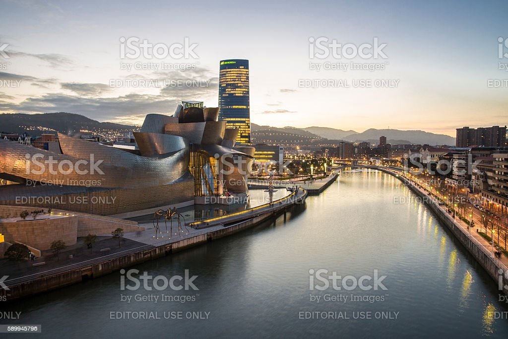Evening view of modern and contemporary art Guggenheim Museum stock photo