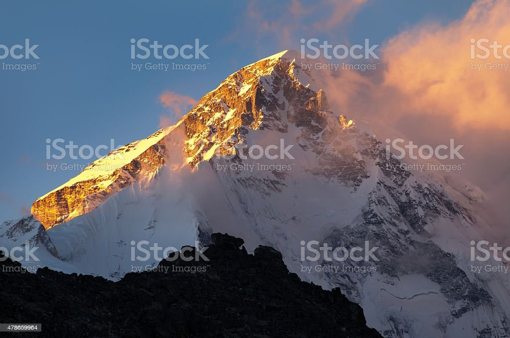Evening view of mount Cho oyu from Gokyo Ri stock photo