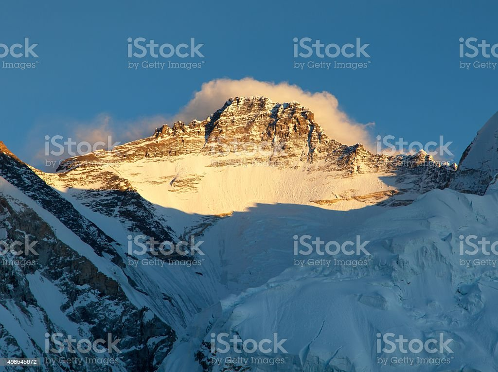 Evening view of Mount Lhotse from Pumo Ri base camp stock photo