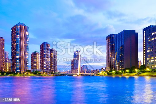 istock Evening View of Office Buildings and Highrise Mansion in Tokyo 475851558
