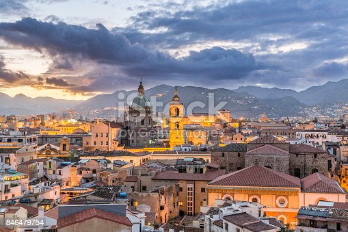 Beautiful evening view of Palermo, Sicily. Italy